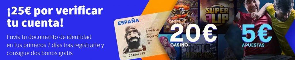 25€ por verificar tu cuenta en betsson